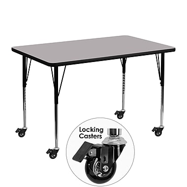Flash Furniture Mobile 30''W x 48''L Rectangular Activity Table, Gray Laminate Top, Height-Adjustable Legs (XUA3048RECGYTAC)