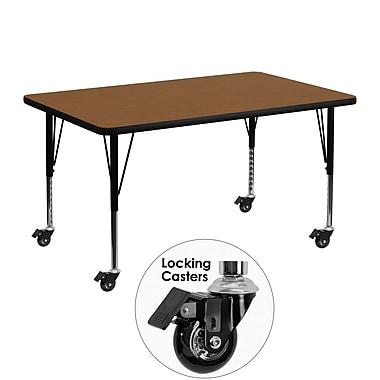 Flash Furniture – Table d'activités mobile, hauteur ajustable, surface en stratifié 48 x 30 x 1,25 po, chêne (XUA3048RECOKHPC)