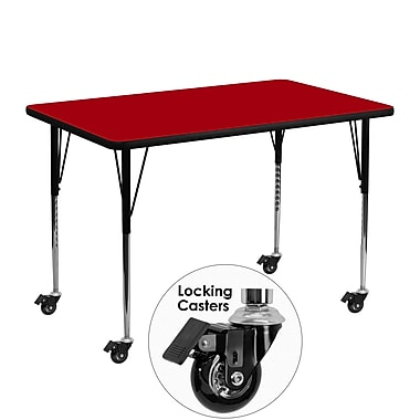 Flash Furniture Mobile 30''W x 48''L Rectangular Activity Table, Red Laminate Top, Height-Adjustable Legs (XUA3048RECRDTAC)