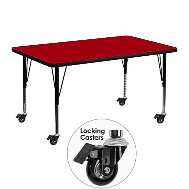 Flash Furniture – Table mobile, surface en stratifié de 30 x 48 po, hauteur ajustable préscolaire, rouge (XUA3048RECRDTPC)