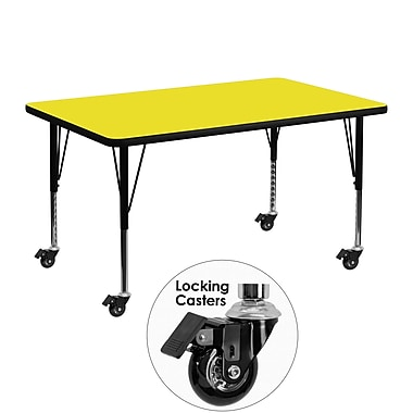 Flash Furniture – Table mobile préscolaire, hauteur ajustable, surface en stratifié 30 x 48 x 1,25 po, jaune (XUA3048RECYLHPC)