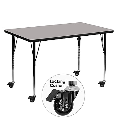 Flash Furniture Mobile 30''W x 60''L Rectangular Activity Table with 1.25'' Grey Laminate Top, Adjustable Legs (XUA3060RECGYHAC)