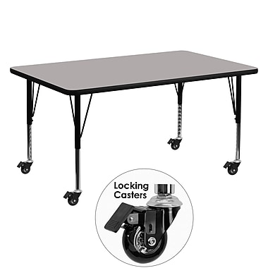 Flash Furniture – Table mobile préscolaire, hauteur ajustable, surface en stratifié de 60 x 30 x 1,25 po, gris (XUA3060RECGYHPC)