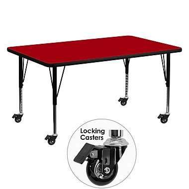 Flash Furniture – Table mobile, surface en stratifié de 30 x 60 po, hauteur ajustable préscolaire, rouge (XUA3060RECRDTPC)