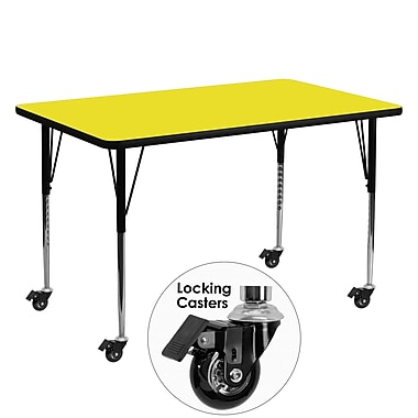 Flash Furniture Mobile 30''W x 60''L Rectangular Activity Table 1.25'' Yellow Laminate Top, Adjustable Legs (XUA3060RECYLHAC)