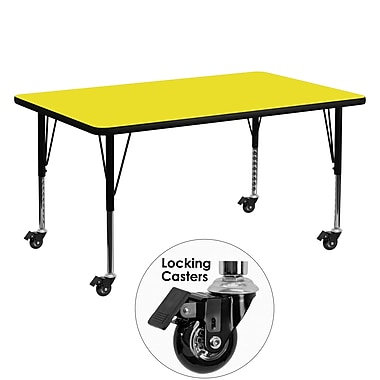 Flash Furniture Mobile 30''W x 60''L Rectangular Activity Table, 1.25'' Yellow Laminate Top, Preschool Legs (XUA3060RECYLHPC)
