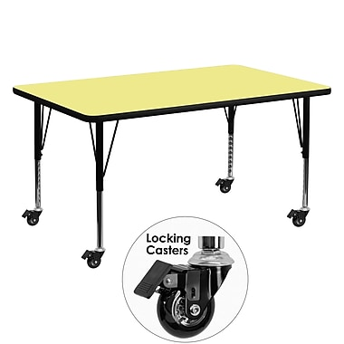 Flash Furniture Mobile 30''W x 60''L Rectangular Activity Table, Yellow Laminate Top, Preschool Legs (XUA3060RECYLTPC)