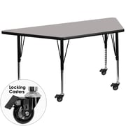 Flash Furniture Mobile 30''W x 60''L Trapezoid Activity Table, 1.25'' Gray Laminate, Adjustable Preschool Legs (XUA3060TRPGYHPC)