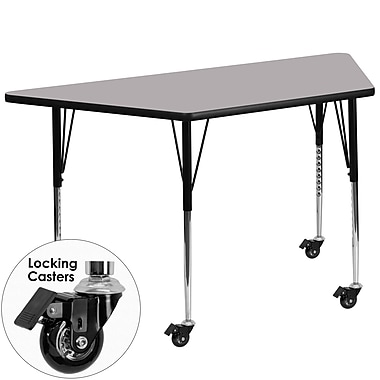 Flash Furniture Mobile 30''W x 60''L Trapezoid Activity Table, Gray Laminate Top and Height-Adjustable Legs (XUA3060TRPGYTAC)