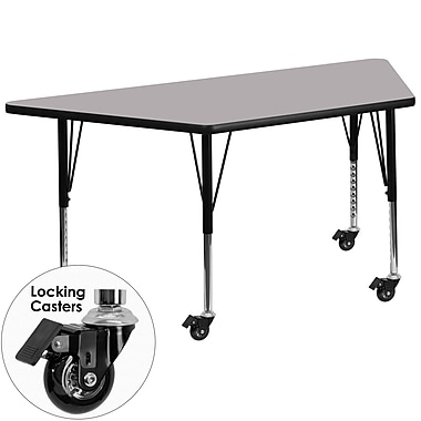 Flash Furniture – Table mobile trapèze, surface de 30 x 60 po, hauteur ajustable préscolaire, gris (XUA3060TRPGYTPC)