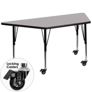 Flash Furniture Mobile 30''W x 60''L Trapezoid Activity Table, Gray Laminate Top, Adjustable Preschool Legs (XUA3060TRPGYTPC)