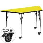 Flash Furniture Mobile 30''W x 60''L Trapezoid Activity Table, 1.25'' Yellow Laminate Top, Adjustable Legs (XUA3060TRPYLHAC)