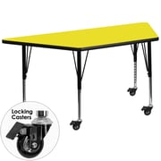 Flash Furniture Mobile 30''W x 60''L Trapezoid Activity Table, 1.25'' Yellow Laminate Top, Preschool Legs (XUA3060TRPYLHPC)