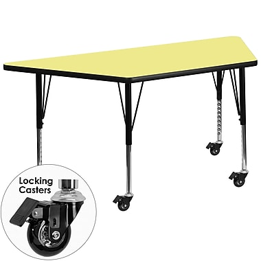 Flash Furniture – Table mobile trapèze, surface de 30 x 60 po, hauteur ajustable préscolaire, jaune (XUA3060TRPYLTPC)