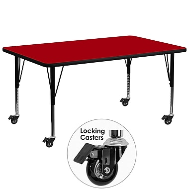 Flash Furniture – Table mobile, surface en stratifié de 30 x 72 po, hauteur ajustable préscolaire, rouge (XUA3072RECRDTPC)
