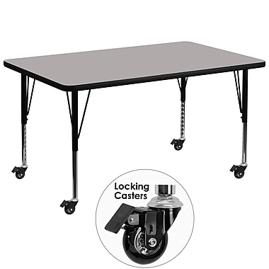 Flash Furniture 36''W x 72''L Rectangular Activity Table, 1.25'' Thick High Pressure Grey Laminate Top, Height Adjustable Legs