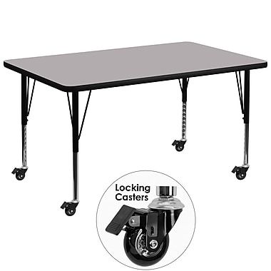 Flash Furniture Mobile 36''W x 72''L Rectangular Activity Table, Grey Laminate Top, Adjustable Preschool Legs (XUA3672RECGYTPC)