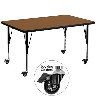 Flash Furniture – Table mobile préscolaire, hauteur ajustable, surface en stratifié de 36 x 72 x 1,25po, chêne (XUA3672RECOKHPC)