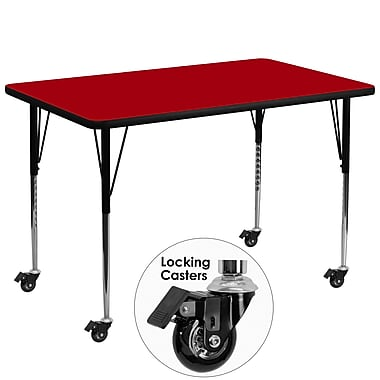 Flash Furniture 36''W x 72''L Mobile Rectangular Activity Table with Thermal Fused Laminate Top and Adjustable Legs, Red