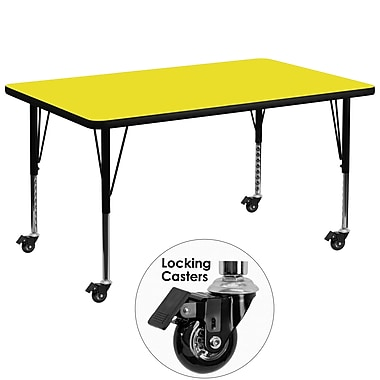 Flash Furniture Mobile 36''W x 72''L Rectangular Activity Table, 1.25'' Yellow Laminate Top, Preschool Legs (XUA3672RECYLHPC)