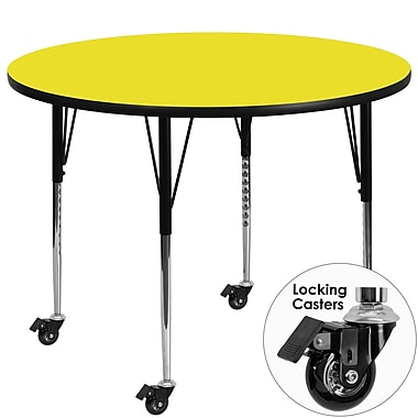 Flash Furniture – Table mobile à surface en stratifié ronde 42 x 1,25 po, hauteur ajustable standard, jaune (XUA42RNDYLHAC)