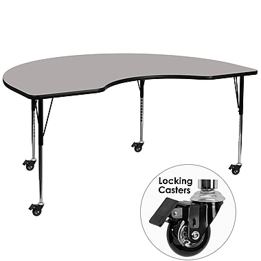 Flash Furniture – Table mobile en forme de haricot, surface en stratifié de 48 x 72 x 1,25 po, hauteur ajustable, gris