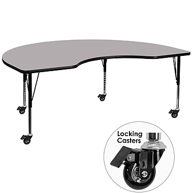 Flash Furniture – Table mobile haricot, surface de 48 x 72 po, hauteur ajustable préscolaire, gris (XUA4872KIDGYTPC)