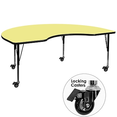 Flash Furniture – Table mobile haricot, surface de 48 x 72 po, hauteur ajustable préscolaire, jaune (XUA4872KIDYLTPC)