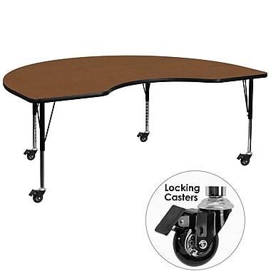 Flash Furniture – Table mobile haricot, surface 48 x 96 x 1,25po, hauteur ajustable préscolaire, chêne (XUA4896KIDOKHPC)