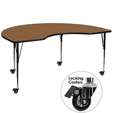 Flash Furniture Mobile 48''W x 96''L Kidney-Shaped Activity Table, Oak Laminate Top, Adjustable Legs (XUA4896KIDOKTAC)