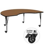 Flash Furniture Mobile 48''W x 96''L Kidney-Shaped Activity Table, Oak Laminate Top, Adjustable Preschool Legs (XUA4896KIDOKTPC)