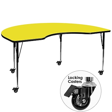 Flash Furniture Mobile 48''W x 96''L Kidney-Shaped Activity Table, 1.25'' Yellow Laminate Top, Adjustable Legs (XUA4896KIDYLHAC)