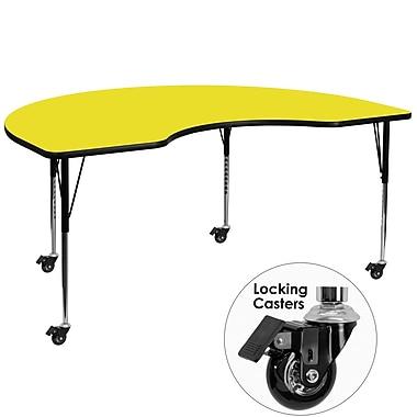 Flash Furniture – Table mobile haricot, surface en stratifié de 48 x 96 x 1,25 po, hauteur ajustable, jaune (XUA4896KIDYLHAC)