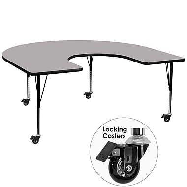 Flash Furniture Mobile 60''W x 66''L Horseshoe Activity Table, Grey Laminate Top, Adjustable Preschool Legs (XUA6066HRSGYTPC)