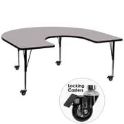 Flash Furniture Mobile 60''W x 66''L Horseshoe Activity Table, Grey Laminate Top, Adjustable Preschool Legs (XUA6066HRSGYTPC)