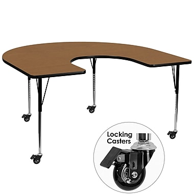 Flash Furniture Mobile 60''W x 66''L Horseshoe-Shaped Activity Table, Oak Laminate Top, Height-Adjustable Legs (XUA6066HRSOKTAC)
