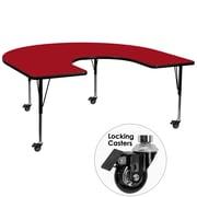 Flash Furniture Mobile 60''W x 66''L Horseshoe-Shaped Activity Table, Red Laminate Top, Preschool Legs (XUA6066HRSRDTPC)