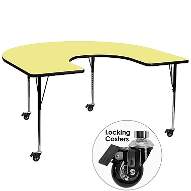 Flash Furniture Mobile 60''W x 66''L Horseshoe-Shaped Activity Table, Yellow Laminate Top, Adjustable Legs (XUA6066HRSYLTAC)