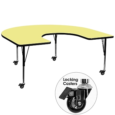 Flash Furniture – Table mobile préscolaire fer à cheval, hauteur ajustable, surface 60 x 66 po, jaune (XUA6066HRSYLTPC)