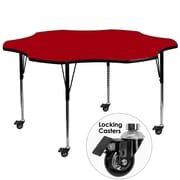 Flash Furniture Mobile 60'' Flower-Shaped Activity Table, Red Laminate Top, Standard Height-Adjustable Legs (XUA60FLRRDTAC)