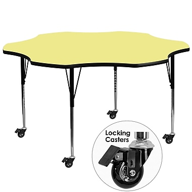 Flash Furniture – Table mobile en fleur, surface en stratifié de 60 po, pattes ajustables en hauteur, jaune (XUA60FLRYLTAC)