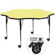Flash Furniture Mobile 60'' Flower-Shaped Activity Table, Yellow Laminate Top, Standard Height-Adjustable Legs (XUA60FLRYLTAC)