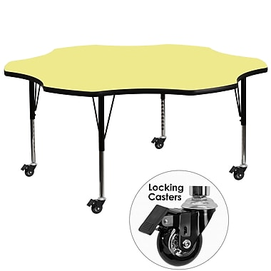 Flash Furniture – Table mobile en fleur, surface en stratifié de 60 po, hauteur ajustable, préscolaire, jaune (XUA60FLRYLTPC)
