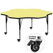 Flash Furniture Mobile 60'' Flower Shaped Activity Table with Yellow Laminate Top and Adjustable Preschool Legs (XUA60FLRYLTPC)
