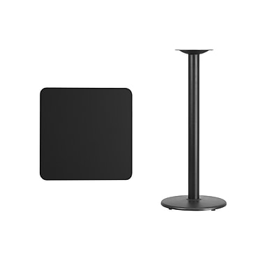 Flash Furniture 24'' Square Laminate Table Top, Black with 18'' Round Bar-Height Table Base (XUBK2424TR18B)