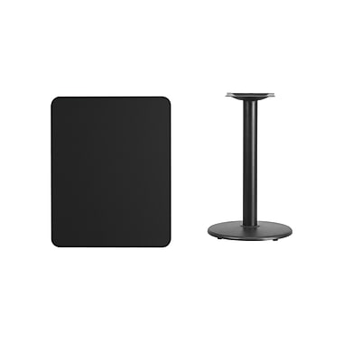 Flash Furniture 24'' x 30'' Rectangular Laminate Table Top, Black with 18'' Round Table-Height Base (XUBK2430TR18)