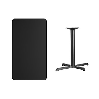 Flash Furniture 24'' x 42'' Rectangular Laminate Table Top, Black with 22'' x 30'' Table-Height Base (XUBK2442T2230)