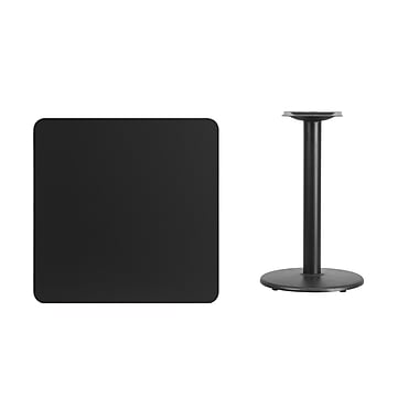 Flash Furniture 30'' Square Laminate Table Top, Black with 18'' Round Table-Height Base (XUBK3030TR18)