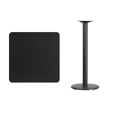 Flash Furniture 30'' Square Laminate Table Top, Black with 18'' Round Bar-Height Table Base (XUBK3030TR18B)