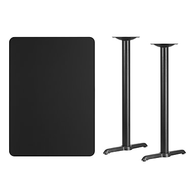 Flash Furniture 30'' x 42'' Rectangular Laminate Table Top, Black with 5'' x 22'' Bar-Height Table Bases (XUBK3042T0522B)